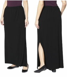 SOLD OUT! SALE! Black, Navy, or Dark Gray Plus Size Maxi Skirt With Slit Plus Size 3x 4x
