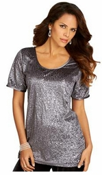 SOLD OUT! Black, Silver, or Red Sequined Velour Shell Glittery Plus Size Top