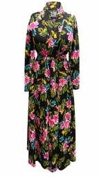 SALE! Black Floral Crepe Poly/Cotton Robe With Attached Belt - Plus Size Supersize 0x 1x 2x 3x 4x 5x 6x 7x 8x 9x