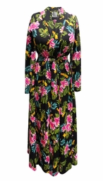 SALE! Plus Size Black Floral Crepe Poly/Cotton Robe With Attached Belt Size 0x 1x 2x 3x 4x 5x 6x 7x 8x 9x