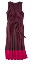 SOLD OUT! SALE! Two Color Burgundy & Pink Plus Size Sleeveless Color Block Maxi Dress 3x 4x