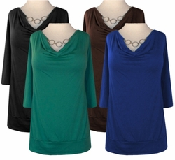"Cotton Lycra Drape Neck ""Silver Necklace"" Tops Black - Blue - Green - Brown"