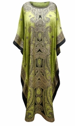 SALE! Customizable Citron Paisley Print Long Plus Size Caftan Dress or Shirt 1x-6x