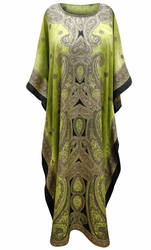 SOLD OUT! Customizable Citron Paisley Print Long Plus Size Caftan Dress or Shirt