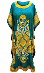 SOLD OUT! SALE! Customizable Jade & Yellow Paisley Print Long Plus Size Caftan Dress or Shirt 1x-6x