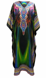 SOLD OUT! SALE! Customizable Arctic Lights Print Long Plus Size Caftan Dress or Shirt 1x-6x