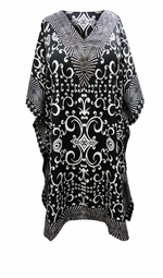 SALE! Customizable Black & White Scroll Print SHORT Plus Size Caftan 1x-6x