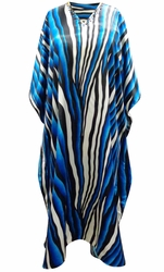 SOLD OUT! SALE! Customizable Blue River Print Long Plus Size Satiny Caftan Dress or Shirt 1x-6x