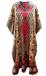 SOLD OUT! Customizable Brown & Red Geometric Print Long Plus Size Caftan Dress or Shirt