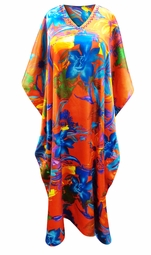 SALE! Customizable Tropical Flowers Print Long Plus Size Caftan Dress or Shirt 1x-6x