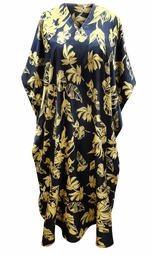 SALE! Customizable Plus Size Navy & Beige Floral Print Long Satiny Caftan Dress or Shirt & Scarf 1x-6x