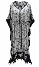 SOLD OUT! SALE! Customizable Black & White Print Long Plus Size Caftan Dress or Shirt 1x-6x