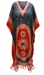 SALE! Customizable Black & Red Print Long Plus Size Caftan Dress or Shirt 1x-6x
