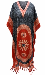 SOLD OUT! SALE! Customizable Black & Red Print Long Plus Size Caftan Dress or Shirt 1x-6x