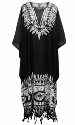 SOLD OUT! Customizable Fringed Black & White Print Long Plus Size Caftan Dress or Shirt
