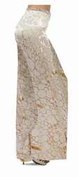 SOLD OUT! Customizable Beige & Gold Metallic Shiny Slinky Print Special Order Plus Size & Supersize Pants, Capri's, Palazzos or Skirts Lg to 9x