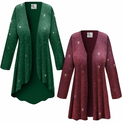 Customizable Green or Burgundy With Glittery Gold Dots Slinky Print Plus Size & Supersize Jackets & Dusters - Sizes Lg XL 1x 2x 3x 4x 5x 6x 7x 8x 9x
