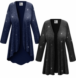Customizable Plus Size Black or Navy With Glittery Silver Dots Slinky Print Jackets & Dusters - Sizes Lg XL 1x 2x 3x 4x 5x 6x 7x 8x 9x