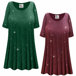 Customizable Green or Burgundy With Glittery Gold Dots Slinky Print Plus Size & Supersize Short or Long Sleeve Shirts - Tunics - Tank Tops - Sizes Lg XL 1x 2x 3x 4x 5x 6x 7x 8x 9x