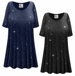 NEW! Customizable Plus Size Black or Navy With Glittery Silver Dots Slinky Print Short or Long Sleeve Shirts - Tunics - Tank Tops - Sizes Lg XL 1x 2x 3x 4x 5x 6x 7x 8x 9x