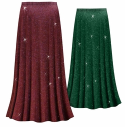 Customizable Burgundy With Glittery Gold Dots Slinky Print Plus Size & Supersize Skirts - Sizes Lg XL 1x 2x 3x 4x 5x 6x 7x 8x 9x