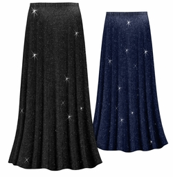 Customizable Plus Size Black or Navy With Glittery Silver Dots Slinky Print Skirts - Sizes Lg XL 1x 2x 3x 4x 5x 6x 7x 8x 9x