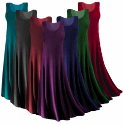 Customizable! Lovely Solid Black, Brown, Blue, Pink, Green, Tan,  White, Yellow, Red or Purple Slinky Plus Size A-Line or Princess Cut Tank Dress or Top XL 0x 1x 2x 3x 4x 5x 6x 7x 8x