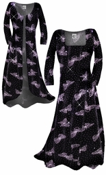 SOLD OUT! Beautiful Sparkly Black & Lavender Glittery Butterfly Smooth Velvet Plus Size & Supersize Standard or Cascading A-Line or Princess Cut Dresses & Shirts, Jackets, Pants, Palazzo's or Skirts Lg to 9x
