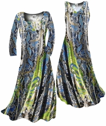 SOLD OUT!!!!! Customizable! Shiny Gold Metallic Over Blue & Green Snakeskin Print Slinky Plus Size & Supersize Standard or Cascading A-Line or Princess Cut Dresses & Shirts, Jackets, Pants, Palazzo's or Skirts Lg to 9x