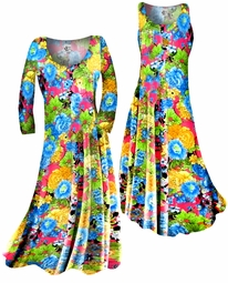 SOLD OUT!!!!!! Colorful Floral Slinky Print Plus Size & Supersize Standard or Cascading A-Line or Princess Cut Dresses & Shirts, Jackets, Pants, Palazzo's or Skirts Lg to 9x