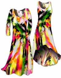 SOLD OUT! FINAL SALE! Colorful Pink & Green Abstract Slinky Plus Size & Supersize Shirt 2x