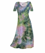 SOLD OUT! CLEARANCE! Dark Blue & Peach Tye Dye Print Slinky Plus Size A-Line Dresses 0x