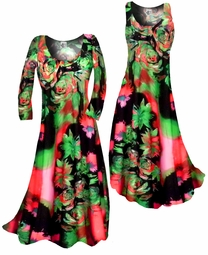 SOLD OUT!!!!!!!!!!!! Customizable! Green & Rose Tropical Floral Slinky Plus Size & Supersize Standard or Cascading A-Line or Princess Cut Dresses & Shirts, Jackets, Pants, Palazzo's or Skirts Lg to 9x