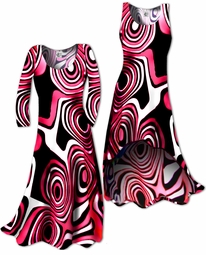 SOLD OUT!!!!!!!!!!!!!!!!!!!!!!!!!! Hot Hot Hot Pink & Black Geometric Print Slinky Plus Size & Supersize Straight or Cascading A-Line or Princess Cut Dresses & Shirts, Jackets, Pants, Palazzo's or Skirts Lg to 9x