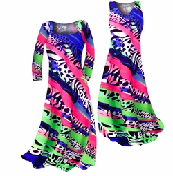 SOLD OUT! Hot Pink Green & Blue Animal Print Slinky Plus Size & Supersize Standard or Cascading A-Line or Princess Cut Dresses & Shirts, Jackets, Pants, Palazzo's or Skirts Lg to 9x