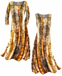 SOLD OUT! SALE! Pretty Brown & Tan Animal Print Slinky Plus Size & Supersize A-Line Plus Size Slinky Dresses & Pants 0x 1x