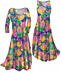 SOLD OUT! Customizable Pretty Colorful Floral Slinky Print Plus Size & Supersize Standard or Cascading A-Line or Princess Cut Dresses & Shirts, Jackets, Pants, Palazzo's or Skirts Lg to 9x
