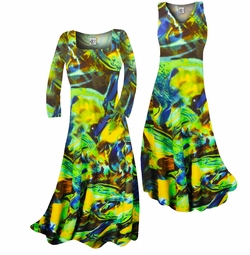 SOLD OUT! Customizable Pretty Green Yellow & Brown Print Slinky Plus Size & Supersize Standard or Cascading A-Line or Princess Cut Dresses & Shirts, Jackets, Pants, Palazzo's or Skirts Lg to 9x