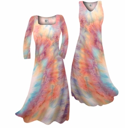 SOLD OUT!!!!!!!!!!Customizable!  Pretty Peach & Light Blue Tye Dye Colorful Print Slinky Plus Size & Supersize Standard or Cascading A-Line or Princess Cut Dresses & Shirts, Jackets, Pants, Palazzo's or Skirts Lg to 9x