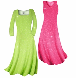SOLD OUT! Customizable! New! Pretty Pink Sparkle Glimmer Slinky Plus Size & Supersize Standard or Cascading A-Line or Princess Cut Dresses & Shirts, Jackets, Pants, Palazzo's or Skirts Lg to 9x
