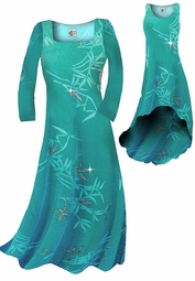 SOLD OUT! Pretty Teal & Silver Sparkly Bamboo Print Slinky Plus Size & Supersize Standard or Cascading A-Line or Princess Cut Dresses & Shirts, Jackets, Pants, Palazzo's or Skirts Lg to 9x