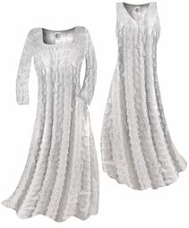 SOLD OUT!!! Pretty White & Silver Shimmer Ruffle Plus Size & Supersize Standard or Cascading A-Line or Princess Cut Dresses & Shirts, Jackets, Pants, Palazzo's or Skirts Lg to 9x