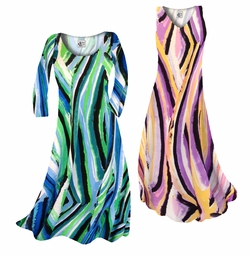 SOLD OUT! SALE! Purple Print Slinky Print Plus Size & Supersize Short or Long Sleeve Dresses & Tanks - Sizes Lg to 9x