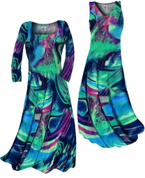 SOLD OUT! Customizable Teal Green and Purple Wild Print Slinky Plus Size & Supersize Standard or Cascading A-Line or Princess Cut Dresses & Shirts, Jackets, Pants, Palazzo's or Skirts Lg to 9x