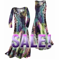 SOLD OUT! FINAL SALE! Turquoise Purple Lime Colorful Snakeskin Print Slinky Plus Size & Supersize Dress 1x
