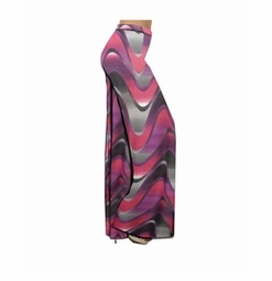 SALE! Customizable Pink And Purple Zig Zag Swirls Slinky Print Plus Size & Supersize Palazzo Pants - Tapered Pants - Sizes Lg to 9x