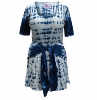 SALE! Plus Size Navy Short Sleeve Tie Dye Cotton Summer Mock Wrap Tunic Tops & Coverups Lg XL 0x 1x 2x 3x 4x 5x 6x 7x 8x