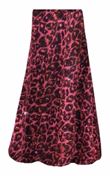 Customizable Red With Hot Pink Glittery Leopard Slinky Print Plus Size & Supersize Skirts - Sizes Lg XL 1x 2x 3x 4x 5x 6x 7x 8x 9x