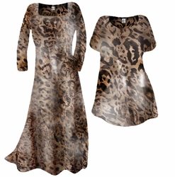 Customizable Semi-Sheer Black & Brown Leopard Print Plus Size Coverup Dress & Top / Swimsuit Coverups Overdress Plus Size & Supersize 0x 1x 2x 3x 4x 5x 6x 7x 8x