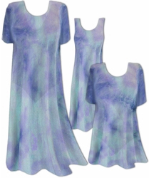 CLEARANCE! Semi-Sheer Blue Aqua Tiedye Print Ribbed Jersey Top Plus Size & Supersize 5x